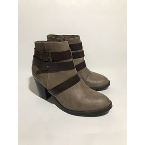 Rampage Vinci Gray Brown Heeled Ankle Boots Sz. 8